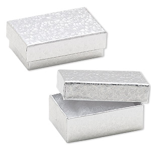 Box, paper, cotton-filled, silver, 2-5/8 x 1-1/2 x 1-inch rectangle. Sold per pkg of 100.