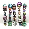 Bracelet mix, stretch, acrylic, multicolored, 7mm-26x5mm multi-shape, 7 inches. Sold per pkg of 5.