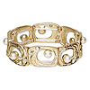 "Bracelet, stretch, Chinese glass rhinestone / plastic / gold-finished ""pewter"" (zinc-based alloy), clear and white, 18mm wide with rectangle and cutout design, 7 inches. Sold individually."