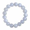 Bracelet, stretch, blue chalcedony (natural), 8-12mm round bead, 7-inch stretch. Sold individually.