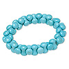 Bracelet, stretch, chalk turquoise (dyed / stabilized), light blue, 14x6mm interlocking peanut, 8 inches. Sold individually.