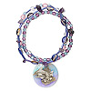 Bracelet, stretch, mussel shell (coated) / amethyst (natural) / acrylic, 30mm round with painted dolphin design, 7 inches. Sold individually.