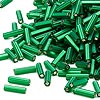 Bugle bead, Dyna-Mites™, glass, matte silver-lined emerald green, #3 square hole. Sold per 1/2 kilogram pkg.