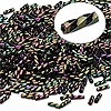 Bugle bead, Dyna-Mites™, glass, opaque iris light purple, 6mm twisted. Sold per 50-gram pkg.