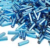 Bugle bead, Dyna-Mites™, glass, silver-lined light blue, #3 square hole. Sold per 1/2 kilogram pkg.