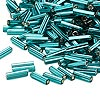 Bugle bead, Dyna-Mites™, glass, silver-lined teal, #3 square hole. Sold per 1/2 kilogram pkg.