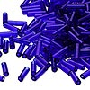 Bugle bead, Dyna-Mites™, glass, transparent cobalt, #3. Sold per 1/2 kilogram pkg.