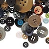 Button mix, resin, mixed colors, 8-50mm round. Sold per 1/4 pound pkg, approximately 200 buttons.