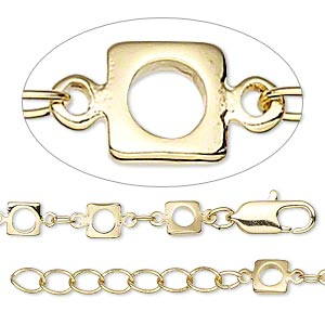 Chain, gold-finished brass, 3x2mm oval and 5x5mm open square, 24 inches with 1-1/4 inch extender chain and lobster claw clasp. Sold individually.