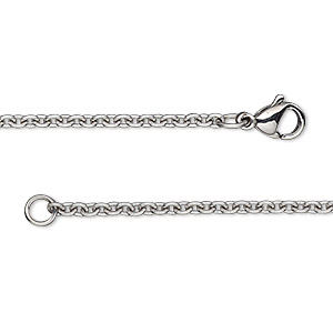 Chain, stainless steel, 2.2mm cable, 16 inches with lobster claw clasp. Sold individually.