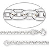 Chain, sterling silver, 3mm anchor cable, 20-inch. Sold individually.