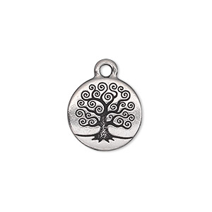 Charm, TierraCast®, antique silver-plated pewter (tin-based alloy), 15.5mm double-sided flat round with tree of life. Sold individually.
