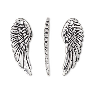 Charm, TierraCast®, antique silver-plated pewter (tin-based alloy), 27.5x11mm two-sided curved wing. Sold per pkg of 2.