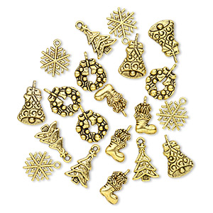 "Charm, antique gold-finished ""pewter"" (zinc-based alloy), 16x13mm-20x15mm single- and double-sided assorted Christmas theme. Sold per pkg of 20."