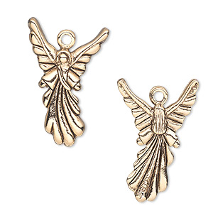 Charm, antique gold-plated pewter (tin-based alloy), 25x17mm double-sided angel. Sold individually.