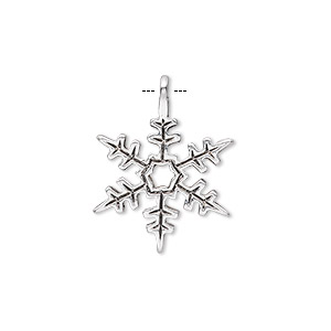 "Charm, antique silver-plated ""pewter"" (zinc-based alloy), 20x18mm single-sided snowflake. Sold per pkg of 20."