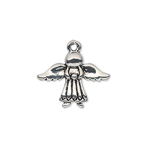 "Charm, antique silver-plated ""pewter"" (zinc-based alloy), 21x16mm single-sided angel. Sold per pkg of 10."