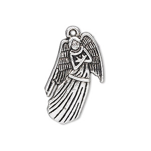"Charm, antique silver-plated ""pewter"" (zinc-based alloy), 28x17mm single-sided angel. Sold per pkg of 10."