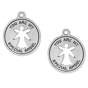 "Charm, antiqued pewter (tin-based alloy), 19mm single-sided flat round with angel cutout and ""You are my special angel."" Sold per pkg of 2."