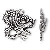 "Charm, antiqued silver-finished ""pewter"" (zinc-based alloy), 29x26mm single-sided dragon. Sold per pkg of 500."