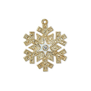 "Charm, enamel / Swarovski® crystals / gold-finished ""pewter"" (zinc-based alloy), white and crystal clear with glitter, 23.5x21mm single-sided snowflake. Sold individually."