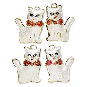 Charm, enamel and gold-finished copper, white / red / black, 26x21mm double-sided cat with ribbon. Sold per pkg of 4.