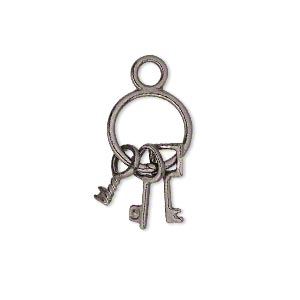 "Charm, gunmetal-plated ""pewter"" (zinc-based alloy), 21x12mm double-sided old-fashioned key ring with (3) keys. Sold per pkg of 10."