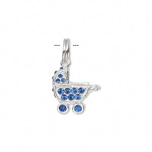 Charm, sterling silver and crystal rhinestone, blue, 17x13mm baby buggy. Sold individually.