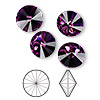 Chaton, Swarovski crystal rhinestone, Crystal Passions®, amethyst, foil back, 12mm faceted rivoli (1122). Sold per pkg of 48.