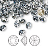 Chaton, Swarovski crystal rhinestone, Crystal Passions®, crystal blue shade, foil back, 6.14-6.32mm faceted Xirius round (1088), SS29. Sold per pkg of 144 (1 gross).
