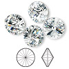 Chaton, Swarovski crystal rhinestone, Crystal Passions®, crystal clear, foil back, 14mm faceted rivoli (1122). Sold per pkg of 48.