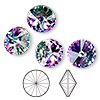 Chaton, Swarovski crystal rhinestone, Crystal Passions®, crystal vitrail light, foil back, 14mm faceted rivoli (1122). Sold per pkg of 48.