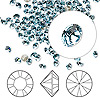 Chaton, Swarovski crystal rhinestone, aquamarine, foil back, 3.0-3.2mm Xilion round (1028), PP24. Sold per pkg of 1,440 (10 gross).