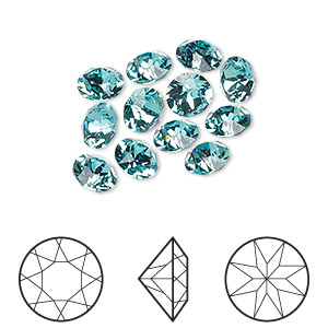 Chaton, Swarovski® crystal rhinestone, Crystal Passions®, light turquoise, foil back, 6.14-6.32mm Xirius round (1088), SS29. Sold per pkg of 12.