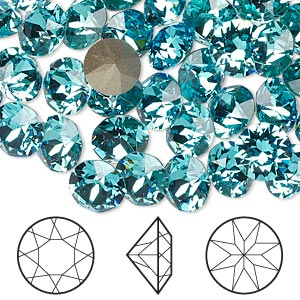 Chaton, Swarovski® crystal rhinestone, Crystal Passions®, light turquoise, foil back, 8.16-8.41mm Xirius round (1088), SS39. Sold per pkg of 48.