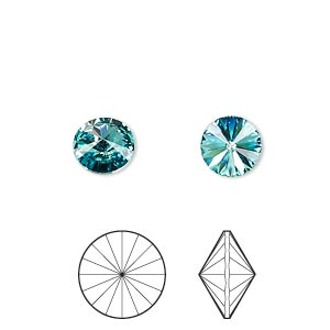 Chaton, Swarovski® crystal rhinestone, Crystal Passions®, light turquoise, foil back, 8.16-8.41mm faceted rivoli (1122), SS39. Sold per pkg of 4.