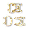 Clasp, 2-strand hook, gold-plated brass, 23x15mm. Sold per pkg of 100.