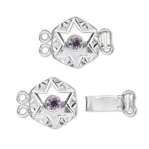 Clasp, 2-strand tab, amethyst (natural) and sterling silver, 15x15mm hexagon with 4mm faceted round. Sold individually.