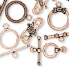 Clasp mix, hook and toggle, antiqued copper-finished copper, 19x14mm-52x44mm. Sold per pkg of 20.