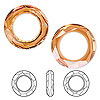 Component, Swarovski crystal, crystal copper, 20mm faceted cosmic round ring fancy stone (4139). Sold per pkg of 24.
