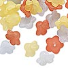 Component mix, acrylic, frosted dark pink / yellow / light blue, 11x7mm flower. Sold per pkg of 120.