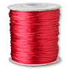 Cord, Satinique™, satin, red, 1mm mini. Sold per 210-foot spool.