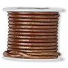 Cord, color-coated leather, metallic copper, 2mm. Sold per 25-yard spool.