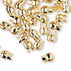 "Crimp, Bulldog Crimp™, gold-plated ""pewter"" (zinc-based alloy), 7x6mm. Sold per pkg of 10."
