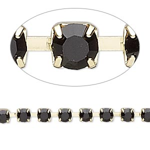 Cupchain, glass rhinestone and gold-finished brass, black, 4mm round. Sold per pkg of 1 meter, approximately 160 cups.