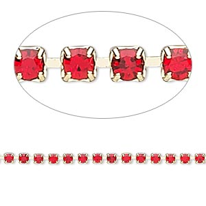 Cupchain, glass rhinestone and gold-finished brass, light red, 2mm round. Sold per pkg of 1 meter, approximately 320 cups.