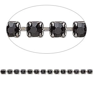 Cupchain, glass rhinestone and gunmetal-plated brass, black, 2mm round. Sold per pkg of 1 meter, approximately 320 cups.