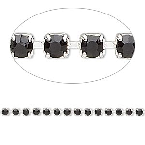 Cupchain, glass rhinestone and silver-plated brass, black, 2mm round. Sold per pkg of 1 meter, approximately 320 cups.