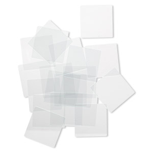 Design element, glass, clear, 1-1/2 x 1-1/2 inch flat square with grounded edges. Sold per pkg of 20.