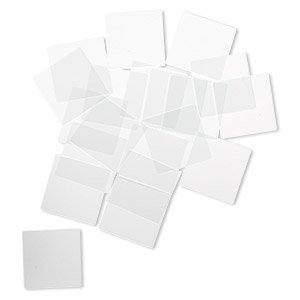 Design element, glass, clear, 1x1-inch flat square with grounded edges. Sold per pkg of 20.